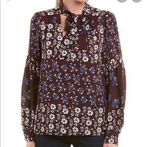 NWT Parker Acacia Bell Sleeve Bow Tie Blouse M